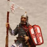 Оловянная миниатюра русский конный воин XIVв.