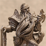 Оловянная миниатюра гном с топором