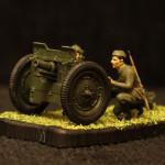 Масштабная модель. Советская 76-мм полковая пушка с расчетом