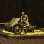 Масштабная модель. Советская противотанковая 45-мм пушка.